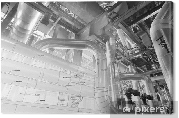 Sketch of piping design mixed with industrial equipment photo Canvas Print - Applied and Fundamental Sciences