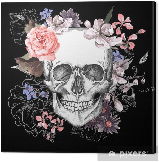Skull and Flowers Day of The Dead Canvas Print - Concept