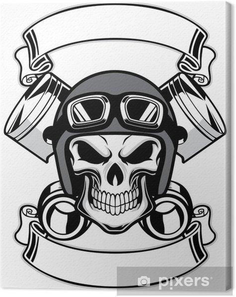 skull wearing retro motorbike helmet Canvas Print - Life