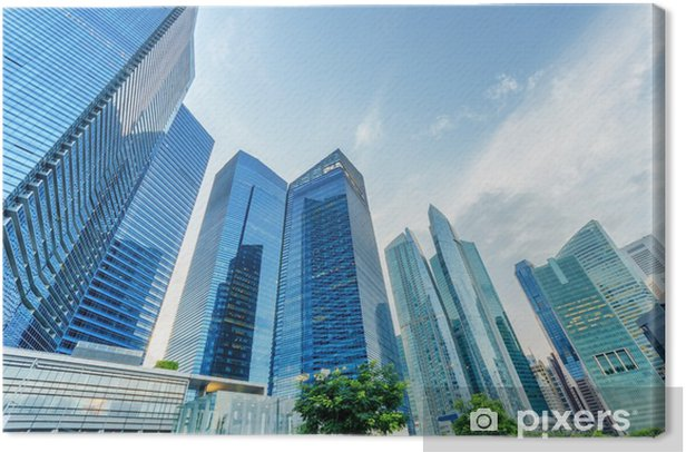 Skyscrapers in financial district of Singapore Canvas Print - Asian Cities
