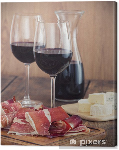 sliced prosciutto with red wine and olives Canvas Print - Themes