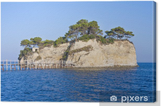 Small islet Agios Sostis connected with a bridge to Zakynthos is Canvas Print - Islands
