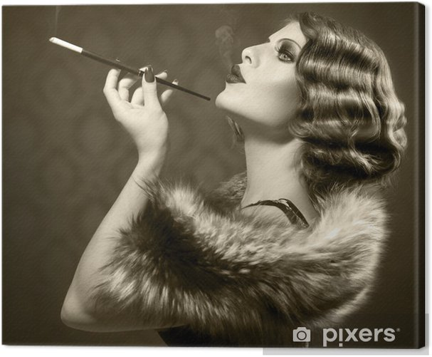 Smoking Retro Woman. Vintage Styled Black and White Photo Canvas Print - Fashion
