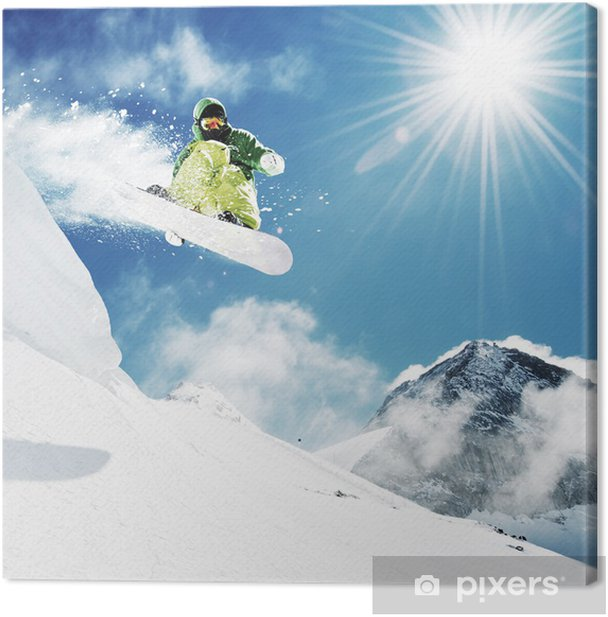 Snowboarder at jump inhigh mountains Canvas Print - Nature