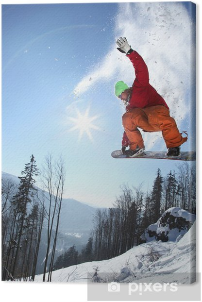 Snowboarder jumping against blue sky Canvas Print - Winter Sports