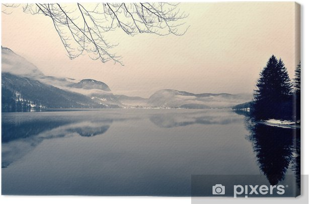 Snowy winter landscape on the lake in black and white. Monochrome image filtered in retro, vintage style with soft focus, red filter and some noise; nostalgic concept of winter. Lake Bohinj, Slovenia. Canvas Print - Landscapes