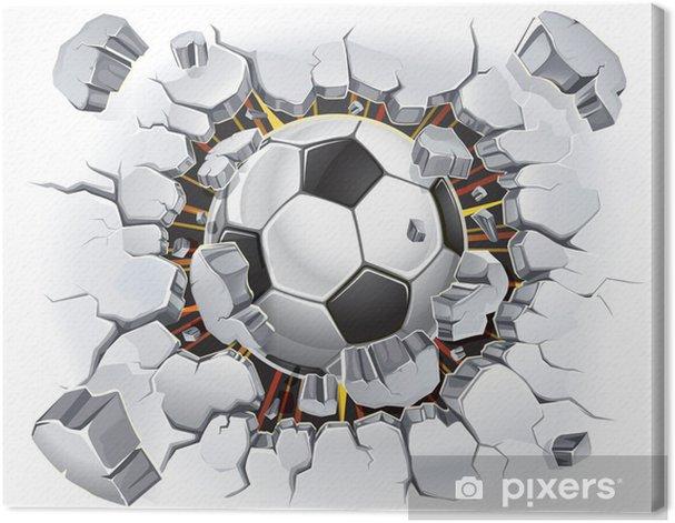 Soccer ball coming through a wall Canvas Print - Destinations