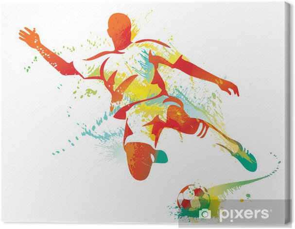 Soccer player kicks the ball. Vector illustration. Canvas Print - Destinations