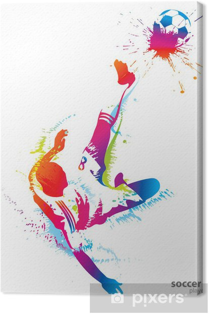 Soccer player kicks the ball Canvas Print - Team Sports