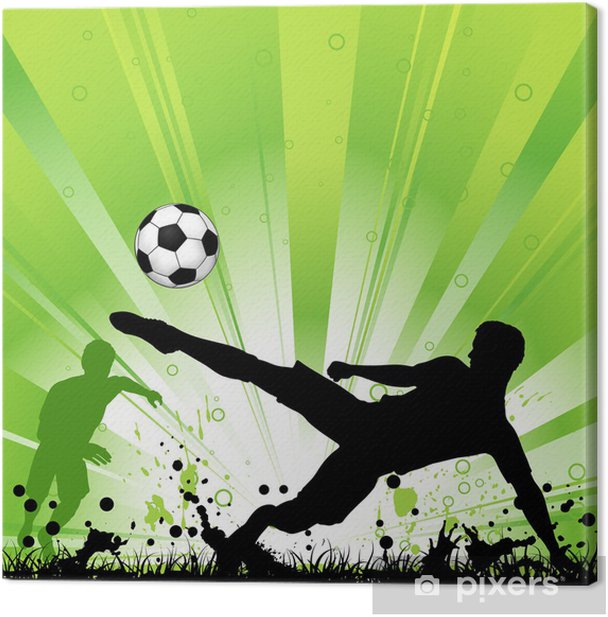 Soccer Player on Grunge Background Canvas Print -