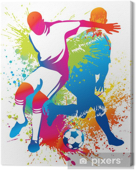 Soccer players with a soccer ball Canvas Print - Destinations