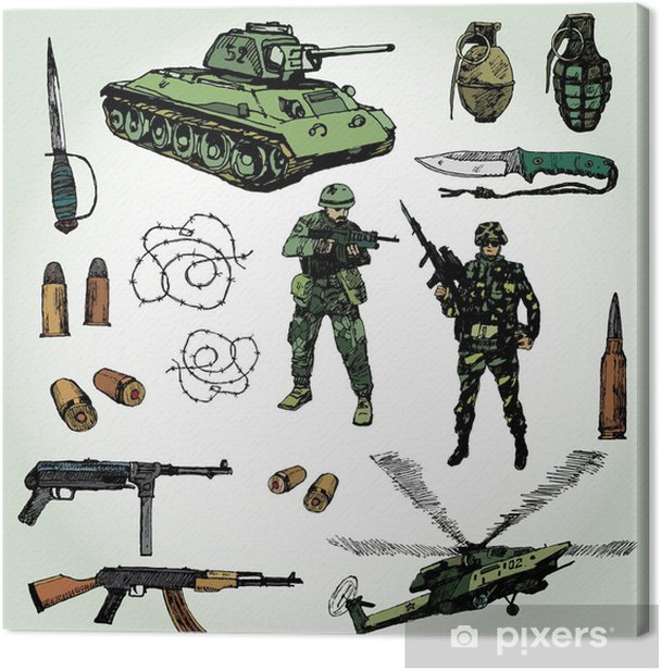 Some Military Things Colorful Hand Drawn Canvas Print - Themes