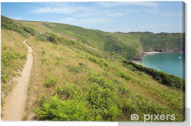 South West West Coast Path Lantic Bay Cornwall England Canvas Print - Europe