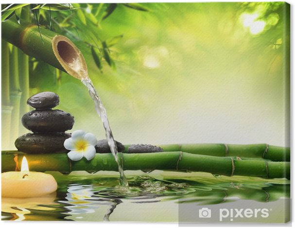 spa stones in garden with flow water Canvas Print - Styles