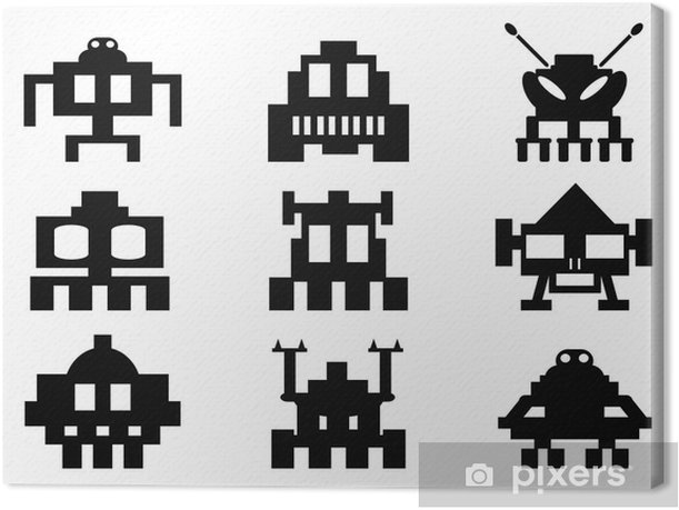space invaders icons set - pixel monsters Canvas Print - Signs and Symbols