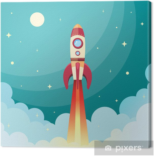 Space rocket print Canvas Print - Themes