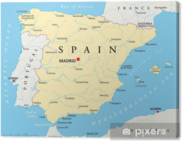 Map Of Spain To Print.Spain Map Canvas Print