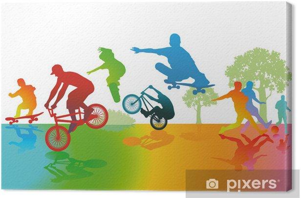 Spaß und Sport im Park Canvas Print - Skateboarding