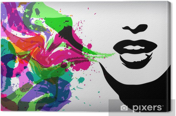 Speaking woman, fashion background concept Canvas Print -