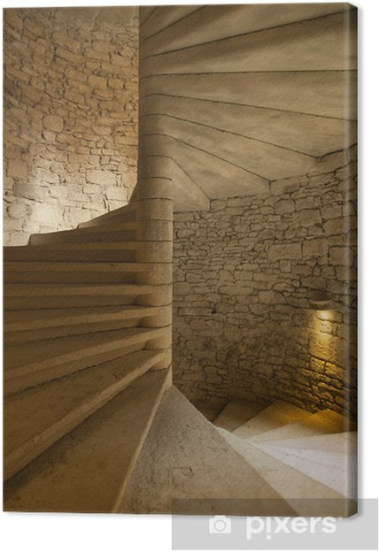 Spiral staircase in medieval castle Canvas Print