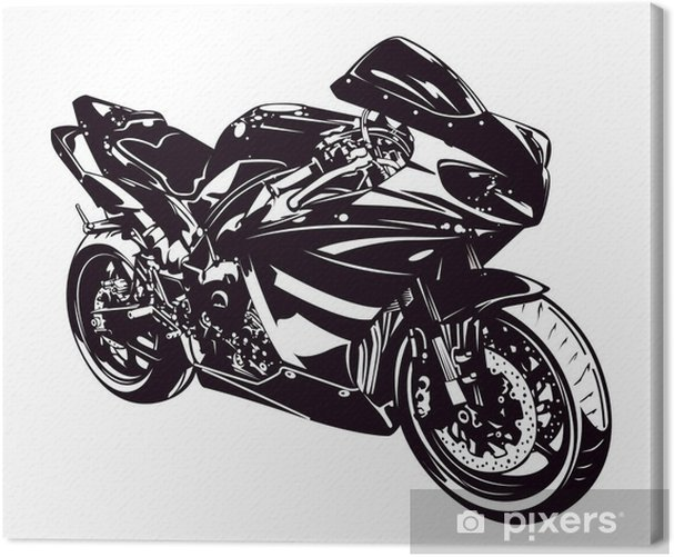 Sport motorbike isolated on white Canvas Print - On the Road