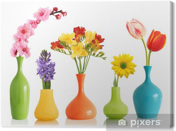 193 & Spring flowers in vases Canvas Print