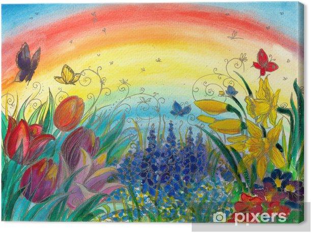 Spring garden-watercolors Canvas Print - Themes
