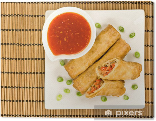 Spring Rolls With Sweet Chilli Dipping Sauce And Garnish Canvas Print Pixers We Live To Change