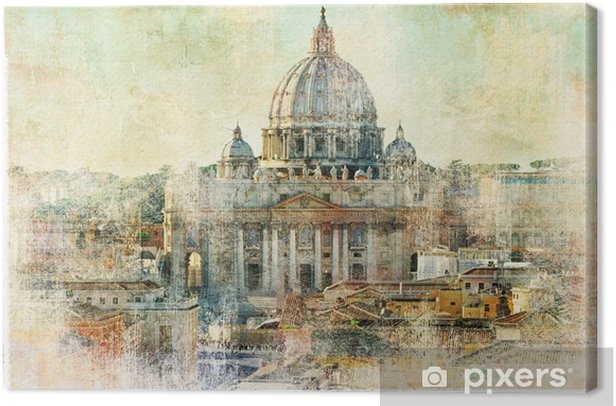st Pietro, Vatican - artwork in painting style Canvas Print - Themes