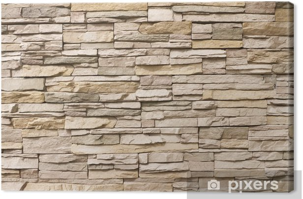 Stacked stone wall background horizontal Canvas Print -