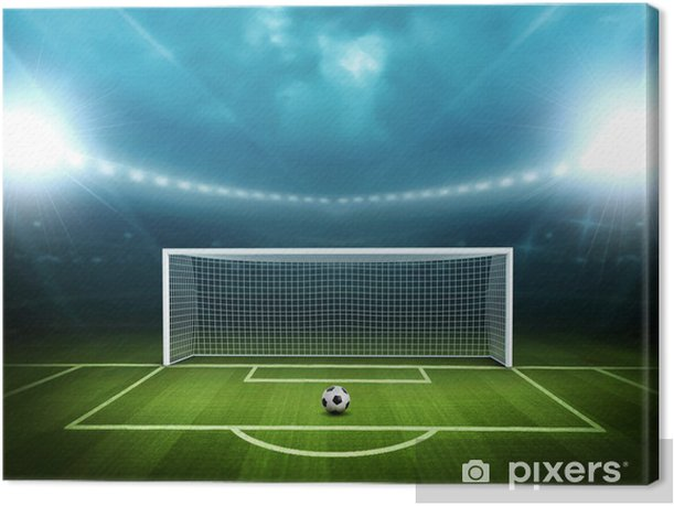 Stadium with soccer ball Canvas Print -