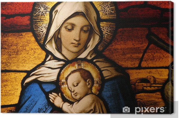 Stained glass depicting the Virgin Mary holding baby Jesus Canvas Print - Holy Family