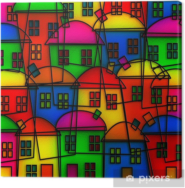 Stained Glass Village Canvas Print - Home and Garden