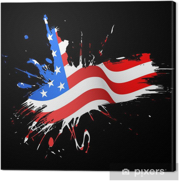 Statue of Liberty with American Flag Canvas Print - Monuments