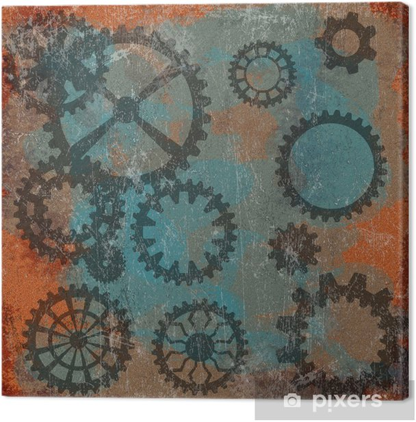 Steam punk grunge background with clock wheels Canvas Print - Graphic Resources