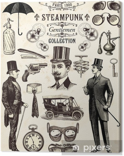 Steampunk gentlemen collection Canvas Print - Steampunk