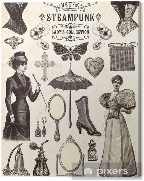 Steampunk lady's collection Canvas Print - Steampunk