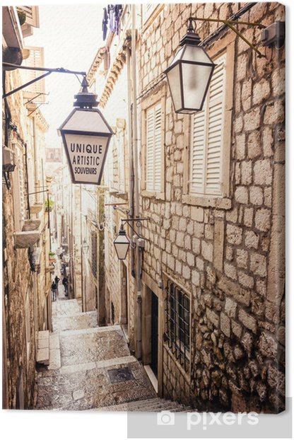 Steep stairs and narrow street in old town of Dubrovnik Canvas Print - iStaging