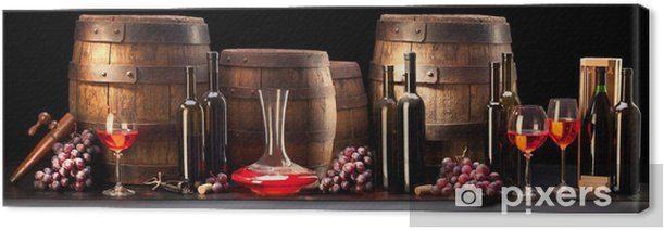 still life with red wine and old barrel Canvas Print - Themes