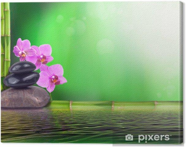 Stillleben Aus Bambus Orchidee Und Steinen Canvas Print Pixers