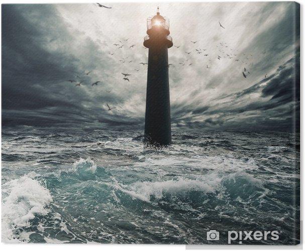 Stormy sky over flooded lighthouse Canvas Print - Lighthouse