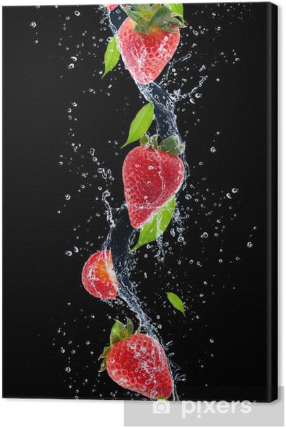 Strawberries in water splash, isolated on black background Canvas Print -