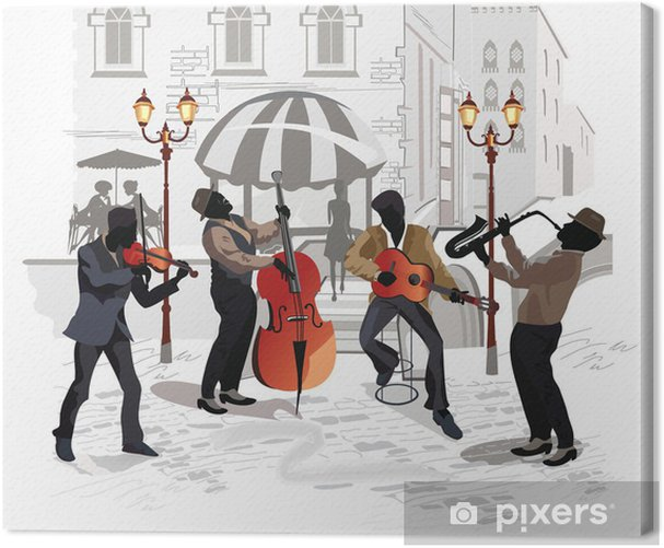 Street cafe with musicians Canvas Print - Themes