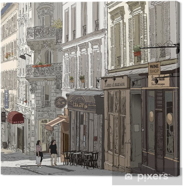 Street in Montmartre Canvas Print - Themes