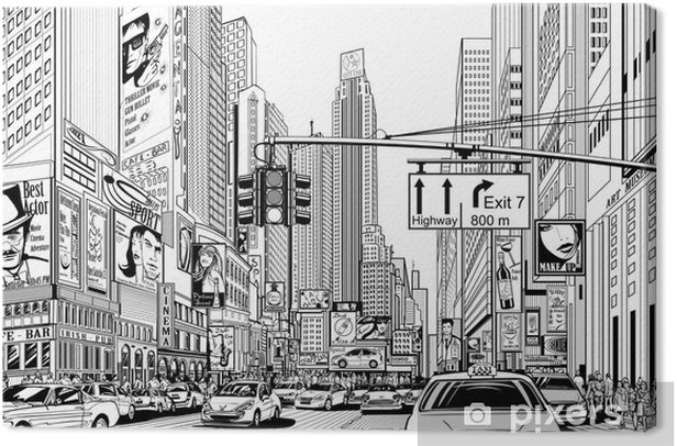 street in New York city Canvas Print - Urban