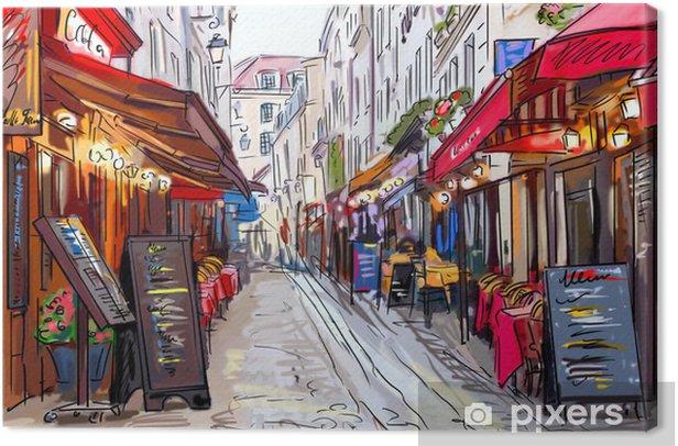 Street in paris - illustration Canvas Print - Themes
