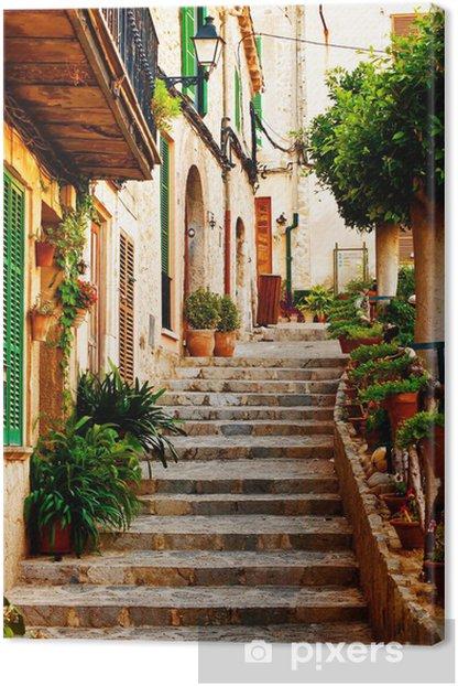 Street in Valldemossa village in Mallorca Canvas Print -