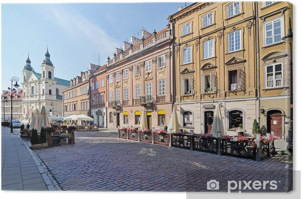 Street in Warsaw, Poland Canvas Print - Themes