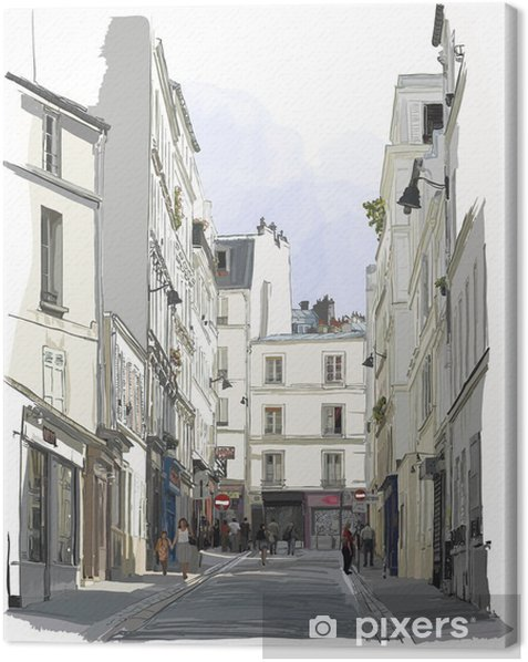 street near Montmartre in Paris Canvas Print - Buildings and Architecture