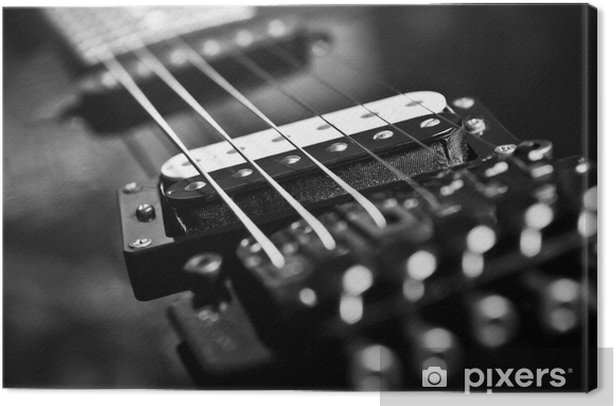 Strings Electric Guitar Closeup In Black Tones Canvas Print Pixers